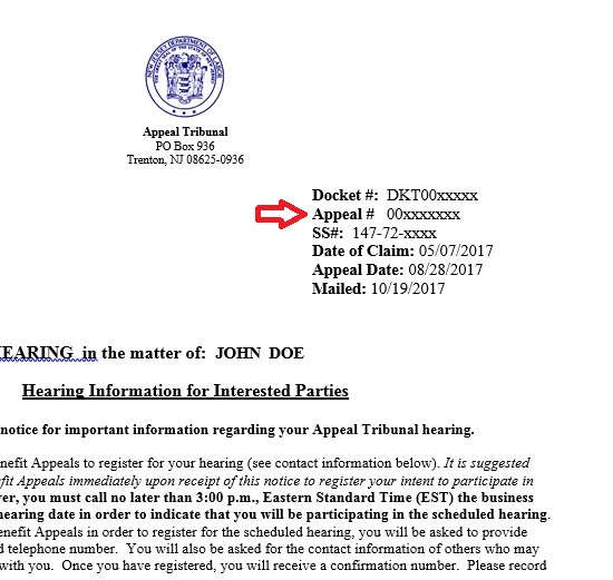 hearing notice letter sample