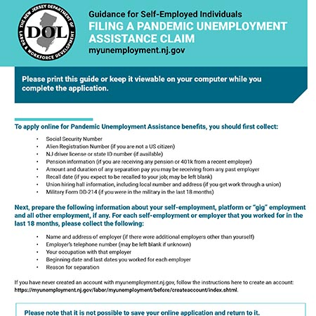 Guidance for Self-Employed Individuals FILING A PANDEMIC UNEMPLOYMENTASSISTANCE CLAIM
